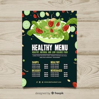 Sałatkowy puchar zdrowy menu szablon