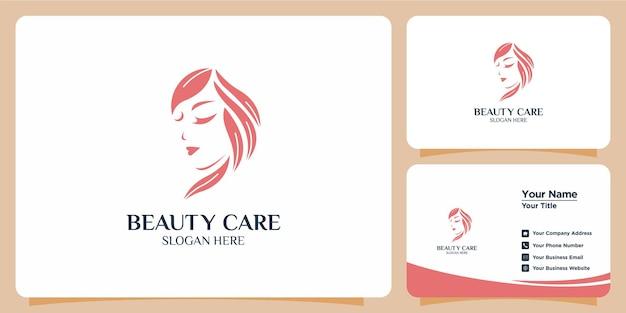 Salon abstrakcyjne piękno minimalistyczne logo i logo koncepcji kształtu sylwetki i szablon wizytówki