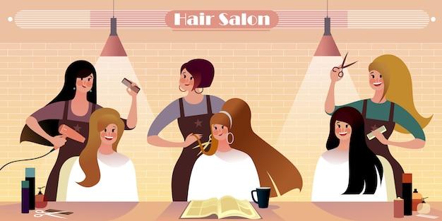 Salon fryzjerski, ilustracja życia miasta hipster.