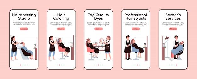 Salon fryzjerski onboarding szablon ekranu aplikacji mobilnej. serwis fryzjerski. przewodnik po witrynie z postaciami. interfejs rysunkowy smartfona ux, ui, gui, zestaw wydruków skrzynek