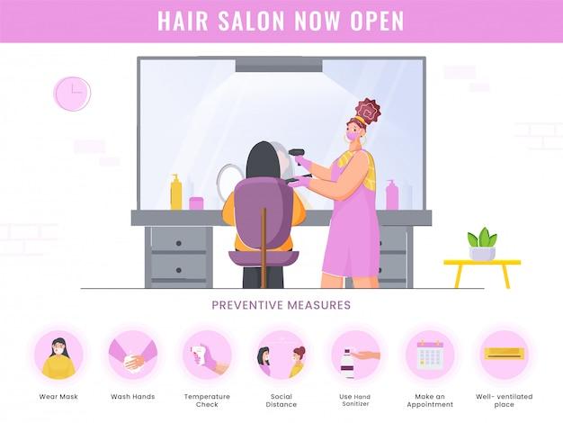 Salon fryzjerski teraz otwarty plakat ze szczegółami środków zapobiegawczych na białym tle do reklamy.