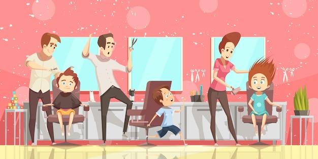 Salon fryzjerski tło z fryzury ckids i mieszkanie fryzjera na białym tle