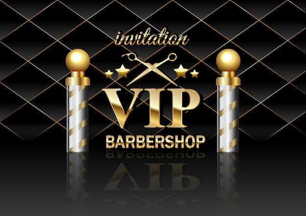 Salon fryzjerski vip złote elementy projektu i tekst na czarnym aksamicie
