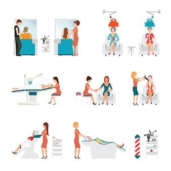 Salon fryzjerski z fryzjerem i klientem.
