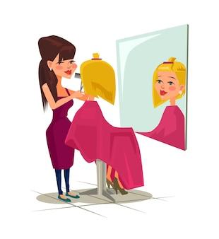 Salon fryzjerski z ilustracją klienta