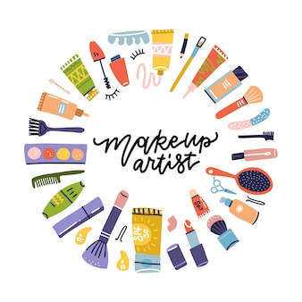 Salon kosmetyczny doodle etykieta dla makijażystki. szminka i szampon, proszek i tusz do rzęs, balsam do butelek i krem ikony. przedmioty kosmetyczne. płaskie ręcznie rysowane ikony ilustracja