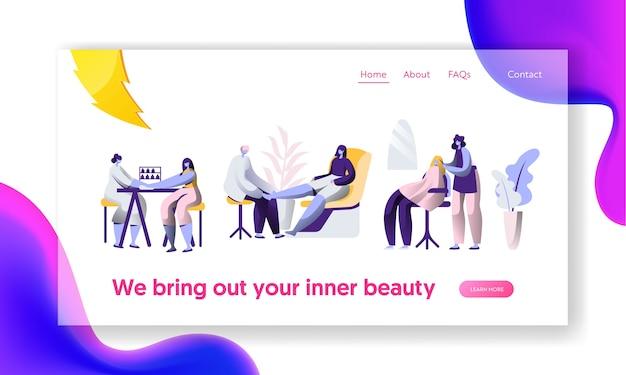 Salon kosmetyczny luksusowych fryzur. stylista czysty paznokieć, procedura fryzjerska. strona docelowa obsługi klienta. witryna lub strona internetowa modnej pięknej kobiety. ilustracja wektorowa płaski kreskówka