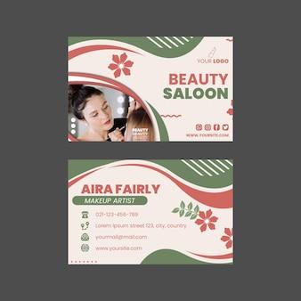 Salon kosmetyczny poziome dwustronne wizytówki szablon projektu