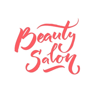 Salon kosmetyczny tekst na logo. podpis kaligrafii.