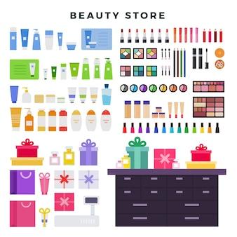Salon kosmetyczny z kosmetykami dekoracyjnymi i pielęgnacyjnymi