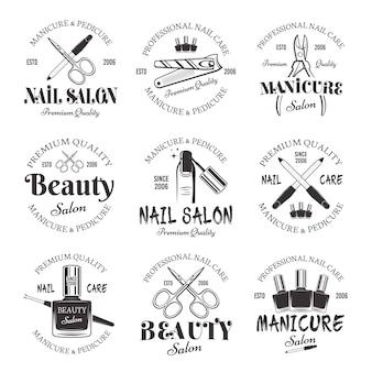 Salon manicure i pedicure zestaw monochromatycznych emblematów wektorowych