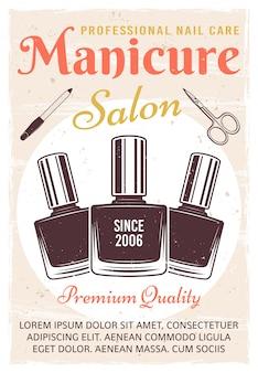 Salon manicure vintage kolorowy plakat z lakierem do paznokci