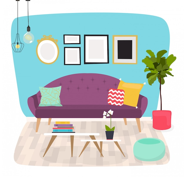 Salon. meble i akcesoria domowe, w tym sofy, fotelik love, fotele, stolik kawowy, stoliki boczne i dekoracja domu.