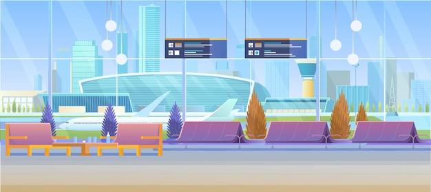 Salon na lotnisku od wewnątrz widok pustej hali odlotów linii oczekujących, pokój z krzesłami