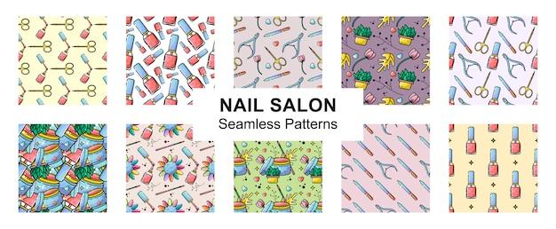 Salon paznokci płaski zestaw wzór