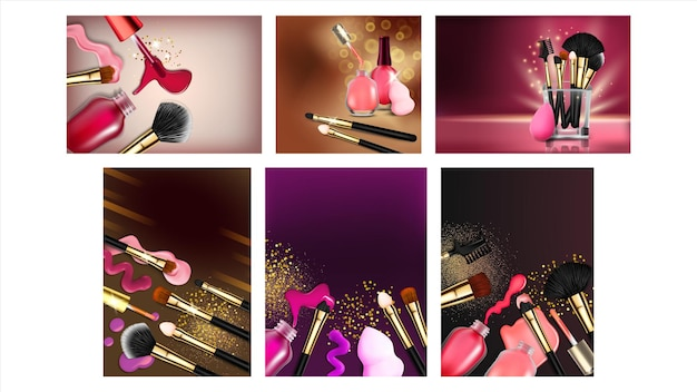 Salon piękności creative reklamować transparent wektor zestaw. kolekcja różnych plakatów projektowych ze szklistą fiolką, pędzelkami do paznokci, lakierem kolorowym do pielęgnacji paznokci i pędzli do makijażu. akcesoria 3d ilustracja