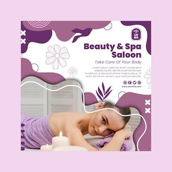 Salon piękności i spa kwadratowy szablon ulotki