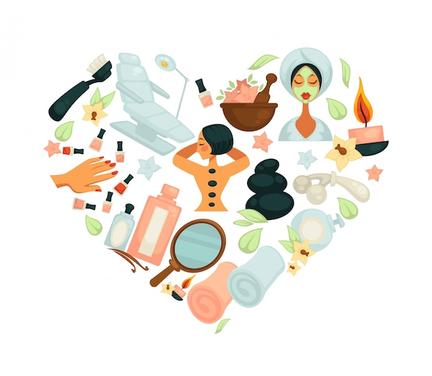 Salon piękności masaż lub wellness salon wektor plakat