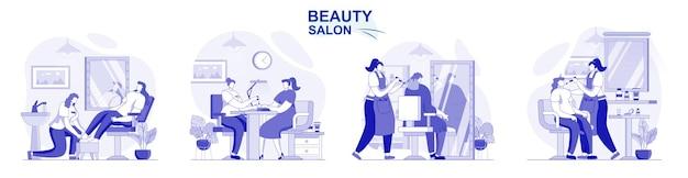 Salon piękności na białym tle zestaw w płaskiej konstrukcji ludzie dostają manicure pedicure makijaż fryzjer