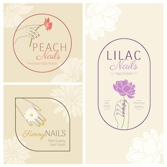 Salon piękności paznokci ręka z zestawem kwiatów