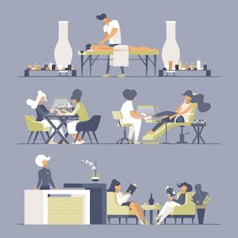 Salon piękności płaskie wektor zestaw ilustracji