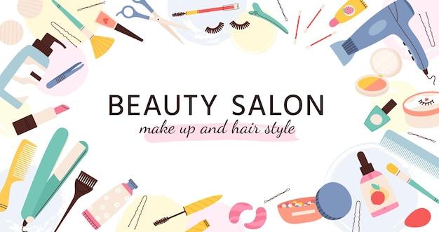 Salon piękności transparent. plakat dla salonów fryzjerskich, wizażystek i paznokci z kosmetykami i produktami do pielęgnacji skóry, szablon wektor mody. salon piękności, ilustracja do makijażu i suszarki do włosów