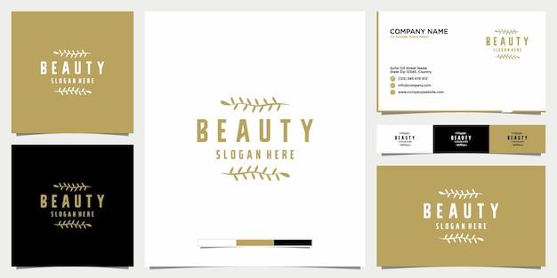 Salon piękności z kwiatowym logo linii sztuki ikona i szablon wizytówki