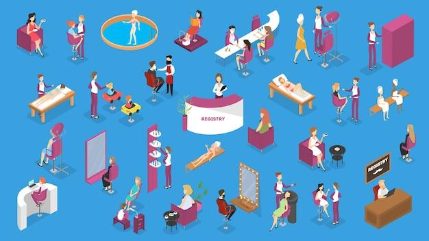 Salon piękności z ludźmi na zabiegi kosmetyczne. wykonywanie strzyżenia, manicure i pedicure, spa, kosmetologia i inne. styl życia w stylu glamour. ilustracja izometryczna