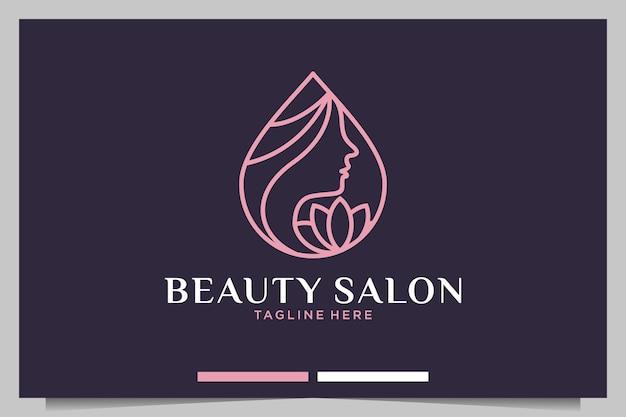 Salon piękności z projektowaniem logo kobiet i kwiatów