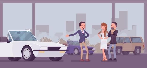 Salon samochodowy, dealer i kupujący pojazdy
