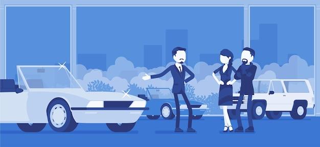 Salon samochodowy, dealer i nabywcy pojazdów. mężczyzna sprzedawca oferujący drogie kabriolet na sprzedaż, mężczyzna i kobieta, para wybierająca nowe rodzinne auto w agencji sprzedaży. ilustracja wektorowa, postacie bez twarzy