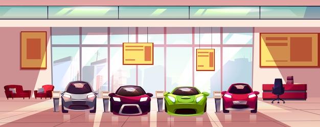 Salon samochodowy - nowy salon samochodowy w dużym pokoju. hala z witryną wystawową, szklaną gablotą.