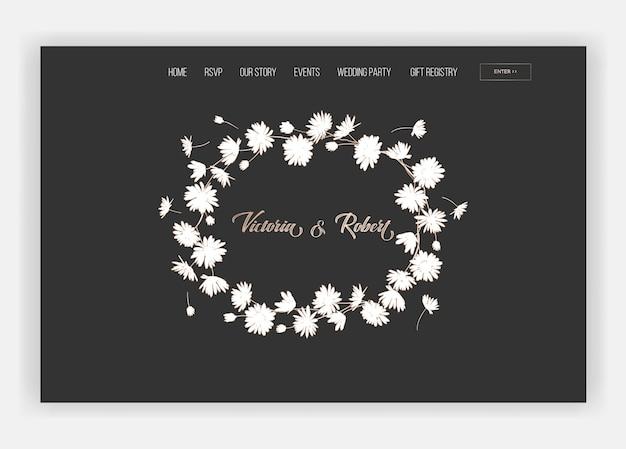 Salon ślubny sklep internetowy kwiatowy szablon strony docelowej. wiosenna wyprzedaż transparentu strony sieci web strony internetowej ze złotem foliowane kwiaty. romantyczny projekt zaproszenia ślubne. ilustracja wektorowa