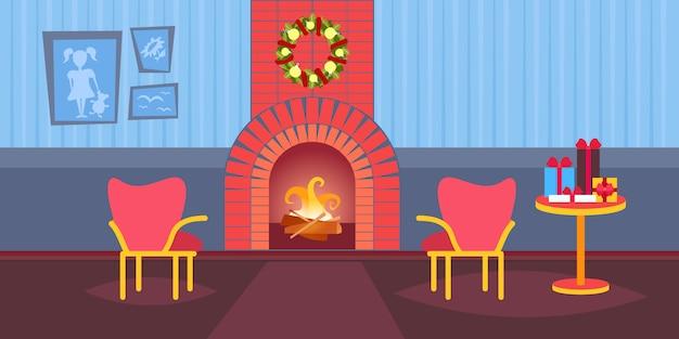 Salon urządzony wesołych świąt szczęśliwego nowego roku kominek dom dekoracja wnętrz zimowe wakacje mieszkanie