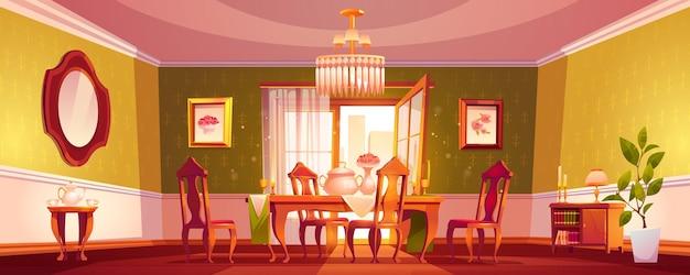 Salon w klasycznym stylu pustym wnętrzu