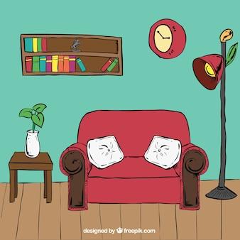 Salon wnętrza z sofą i innych rysowane ręcznie mebli