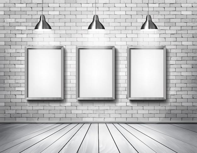 Salon z białej cegły z reflektorami.