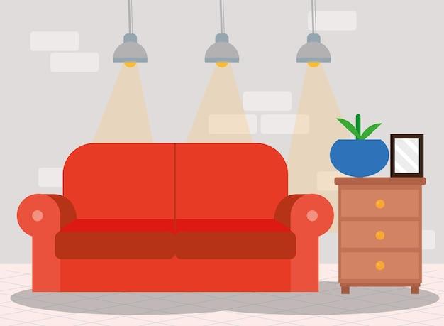 Salon z czerwoną sceną z sofą