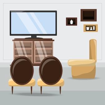 Salon z dekoracyjnych obiektów ikona kolorowy design