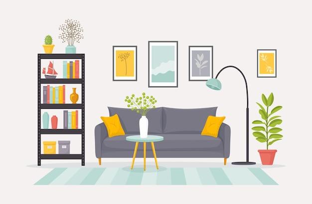 Salon z ilustracją ozdobną kanapą