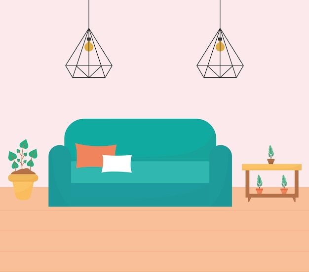 Salon z jedną kanapą, stolikami i roślinami plus żyrandole