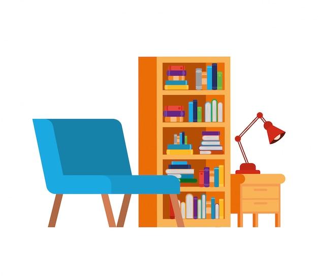 Salon z kanapą i półką na książki