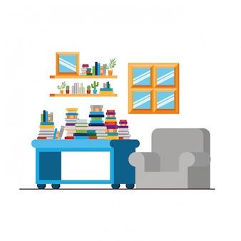 Salon z kanapą i stosem książek