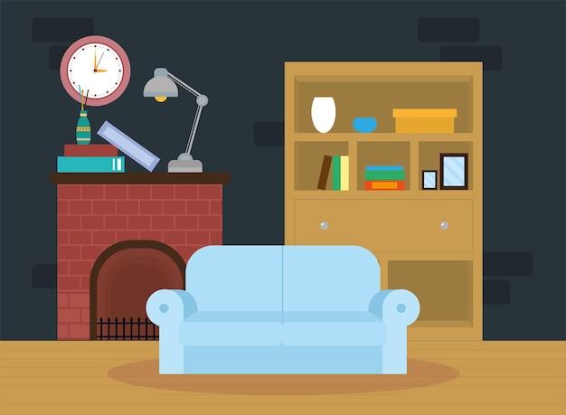 Salon z kanapą niebieską sceną