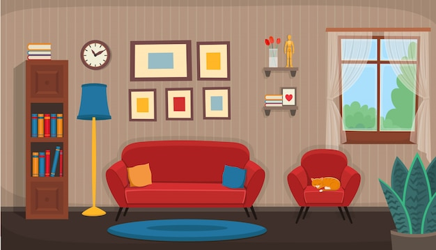 Salon z krzesłem, sofą, oknem, regałem. płaskie сozy wnętrze w stylu cartoon.