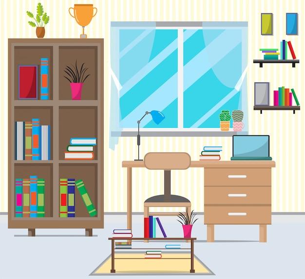 Salon z meblami, książkami, szafką, oknami, lampami, małymi drzewami, sofą, pokojem naściennym.