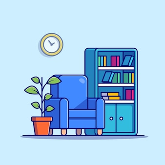 Salon z regałem, fotelem i ilustracją roślinną