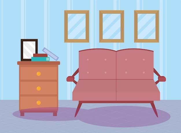 Salon z różową sceną na kanapie