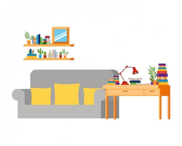 Salon z sofą i biurkiem z książkami