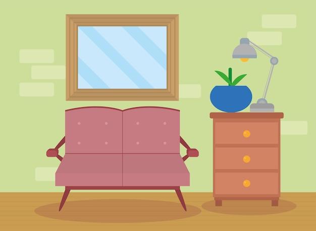 Salon z sofą różową sceną